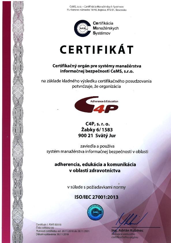 certifikát - adherencia, edukácia a komunikácia v oblasti zdravotníctva